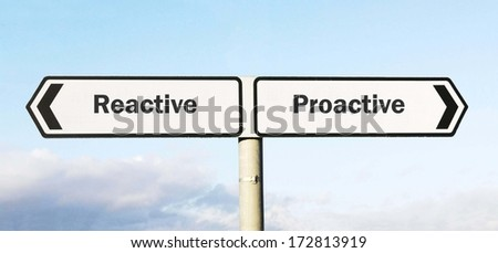 Signpost with Reactive or Proactive as direction choices  - stock photo