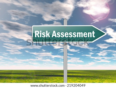 Signpost with Risk Assessment wording - stock photo