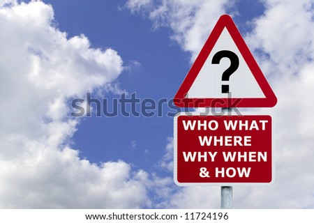 Signpost with the six most commonly asked questions, against a blue cloudy sky. - stock photo