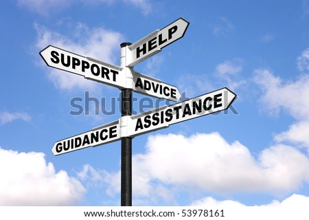 Signpost with the words Help, Support, Advice, Guidance and Assistance on the direction arrows, against a bright blue cloudy sky. - stock photo