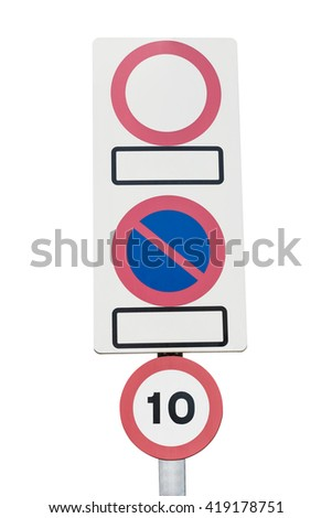 signs No parking, no entry, speed limit isolated on a white background - stock photo