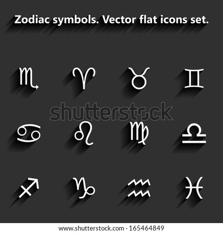 Signs of the zodiac flat icons. Raster version - stock photo