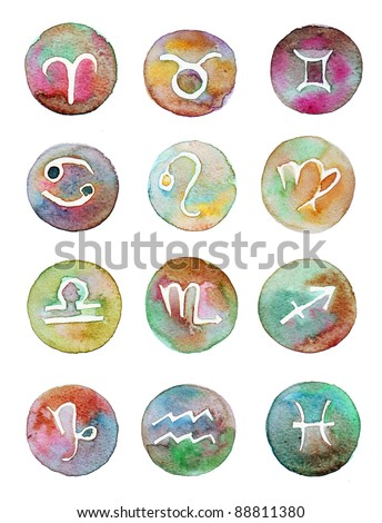 signs of the zodiac water color - stock photo