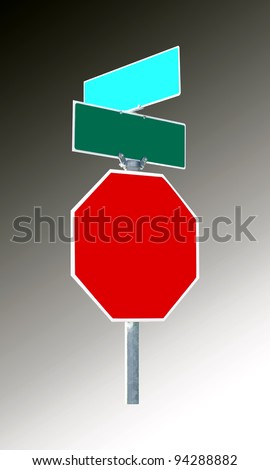signs on post. red for stop and green for street names. blank for own text. gradient grey background - stock photo