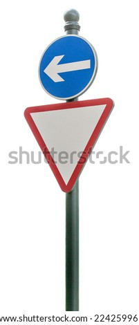 Signs on white background