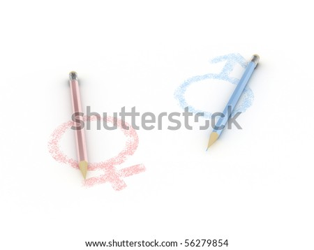 Signs painted on paper female and male with pencils