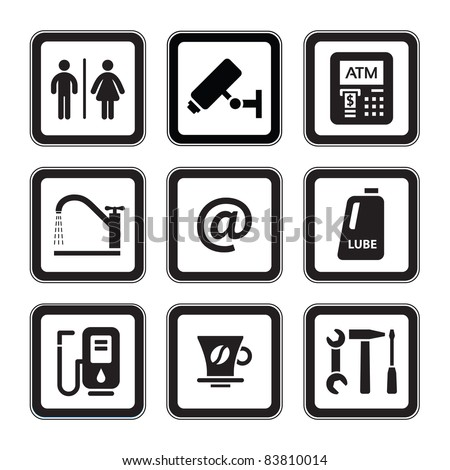 Signs set car services. Gas station. Symbols roadside services. - stock photo