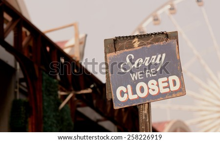 Signs sorry, we closed a vintage image of a restaurant in the park