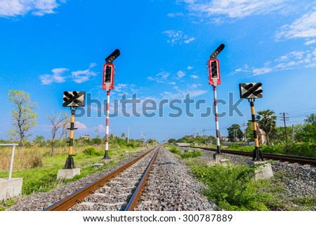 Signs train in the countryside in Lopburi, Thailand. - stock photo