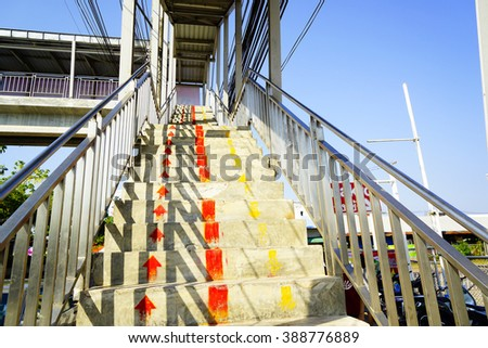Signs up and down arrow overpass:select focus with shallow depth of field - stock photo