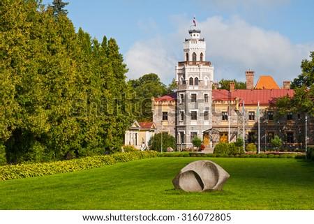 SIGULDA, LATVIA - SEPTEMBER 02, 2014 - New Sigulda castle in a sunny day. Latvia - stock photo