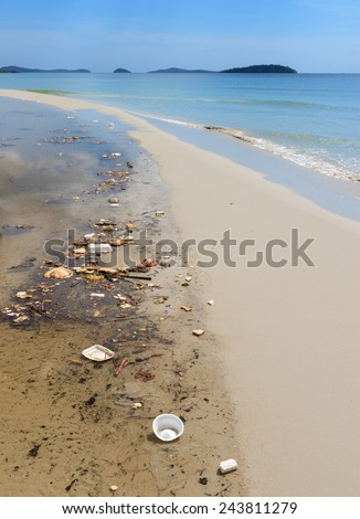 SIHANOUKVILLE, CAMBODIA - NOVEMBER 17, 2014: garbage and trash pollution of the tropical sea coast in Cambodia - stock photo