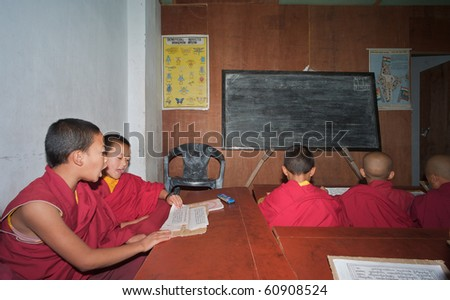 SIKKIM, INDIA - MAY 18: Some unidentified little monks learn at monastery school on May 18, 2010 in Phodong Gompa, North Sikkim, India