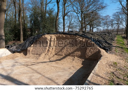 silage covered with tires - stock photo