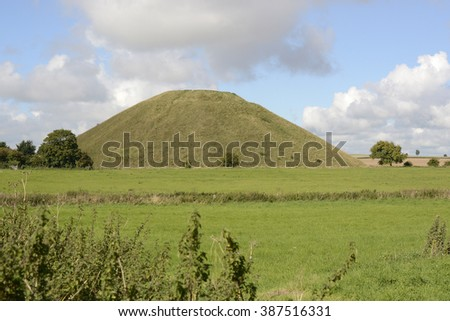 Silbury Hill Ancient artificial mound near Avebury in Wiltshire, England