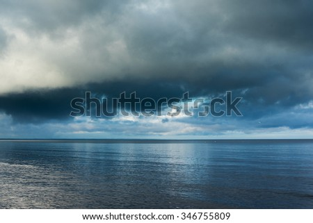 Silence before storm in gulf of Riga, Baltic sea. - stock photo