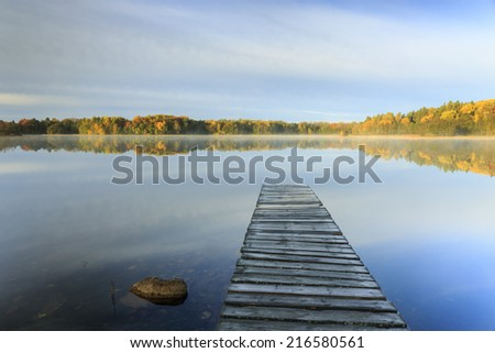 Silent autumn morning in north Poland.Pomerania province.Kashubia district.Bobiencino Lake/Silent morning - stock photo