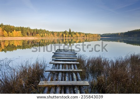 Silent autumn morning in north Poland.Pomerania province.Kashubia district/Silent lake autumn morning  - stock photo