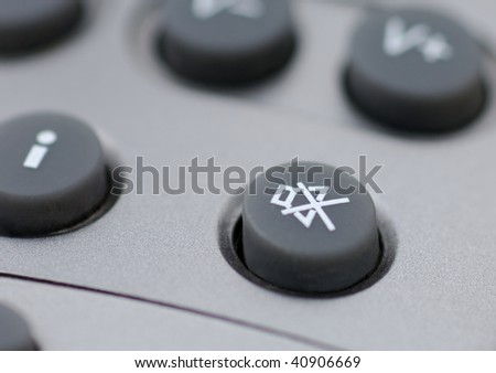 silent button of an remote control - stock photo