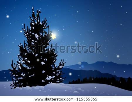 Silent night with pine tree and star,snowflakes and mountains - stock photo