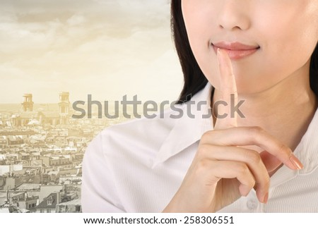 Silent sign with gesture by business woman, closeup image. - stock photo