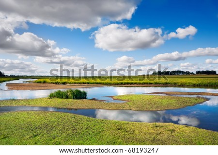Silent small river with deserted coast in the early autumn in a fair weather, Russia, Siberia - stock photo