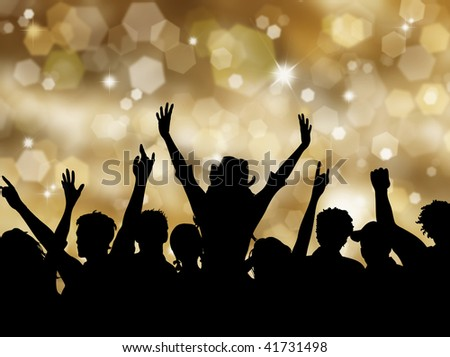 Silhoeutte of an excited crowd on a Christmas background