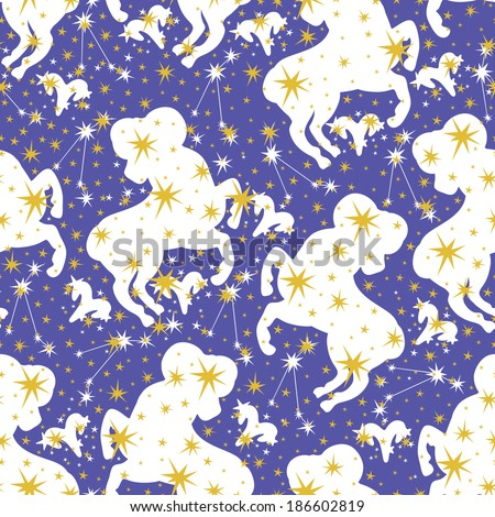 Silhouette Aries,zodiac signs and stars in Horoscope seamless pattern.Golden stars,white Aries on blue background.Vector background,  packing,Wallpaper, fabric. Illustration in retro style. - stock photo