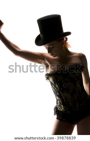 silhouette backlight picture of sexy woman in corset