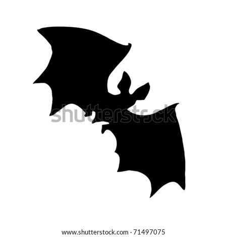 silhouette bat on white background - stock photo