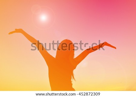 Silhouette beautiful women on sunset. Concept relax time - stock photo