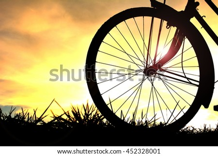 Silhouette bicycle on sunset