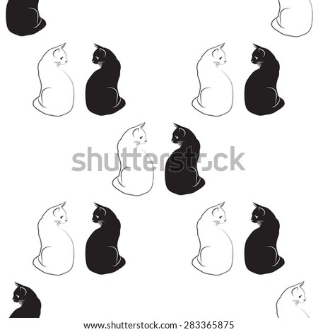 silhouette black and white cat pattern back background