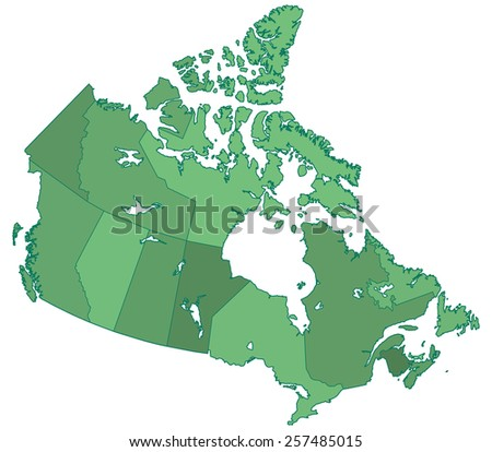 Silhouette border regions map of the Canada  - stock photo