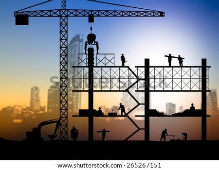 silhouette building site over Blurred city Scape