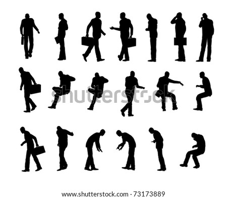 Silhouette business man - stock photo