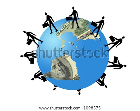 Silhouette  business people around planet aerth of dollars