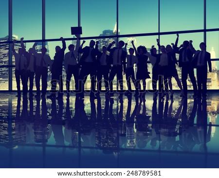 Silhouette Business People Celebration Success Cityscape Concept - stock photo