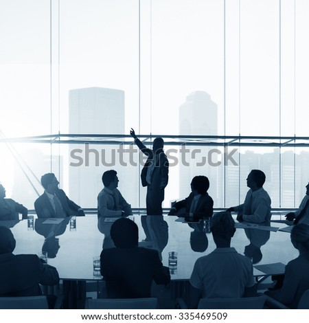 Silhouette Business People Conference Cityscape Concept