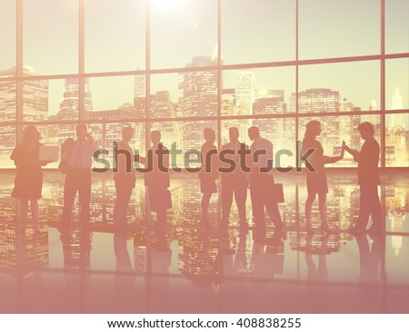 Silhouette Business People Discussion Communication Meeting Concept