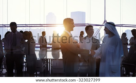 Silhouette Business People Discussion Meeting Cityscape Team Concept - stock photo