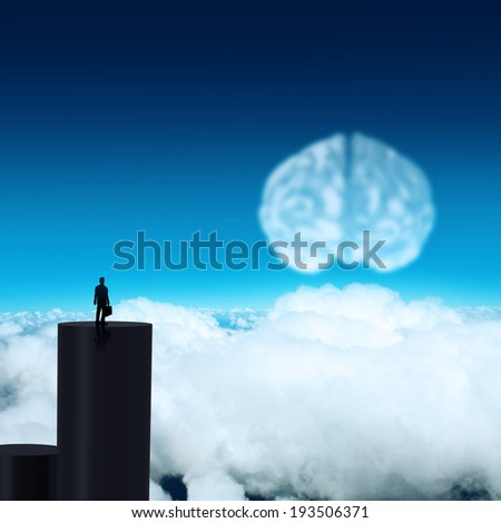 silhouette businessman looking to brain as cloud icon concept  - stock photo