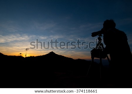 silhouette, Cameraman at the sunset