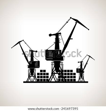Silhouette cargo cranes and containers  on a light background,  black and white   illustration