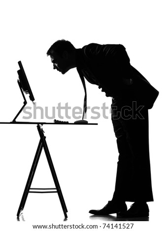 silhouette caucasian business man  computing expressing behavior full length on studio isolated white background - stock photo