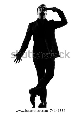 silhouette caucasian business man   despair suicide behavior full length on studio isolated white background - stock photo
