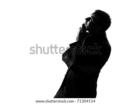 silhouette caucasian business man  musing daydream looking up behavior full length on studio isolated white background - stock photo