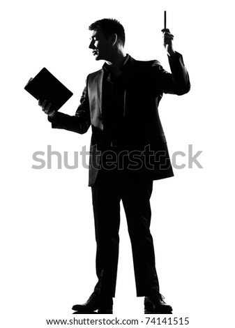 silhouette caucasian business man with note pad  expressing behavior full length on studio isolated white background - stock photo