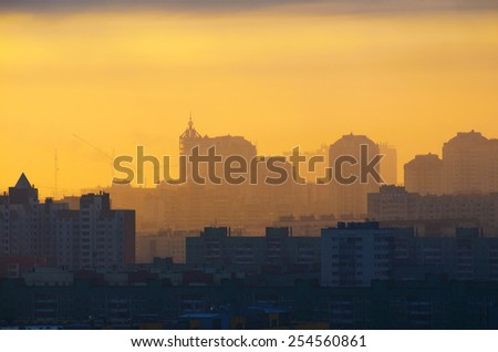 Silhouette city sun light sunset doomsday sky sunrise sunset building industrial - stock photo