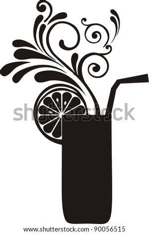 Silhouette cocktail with floral design elements. Drink Menu or Invitation for Parties and Showers.  illustration - stock photo